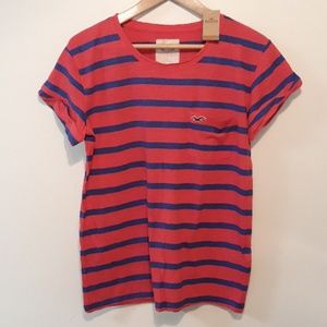 Hollister Rolled Sleeve Stripe Tee Size L NEW